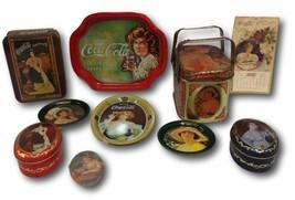 Coca Cola Metal Tin Containers Calendar Coaster Trays Hand Mirror Coke Lot 10 - $24.74