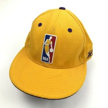 VINTAGE Reebok Los Angeles Lakers Hat Cap Size 7 1/2 Fitted Wool Yellow NBA Logo - $27.33