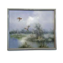 E. Max Oil Painting Original Framed Art Signed Ducks Flying Over Water M... - $98.99