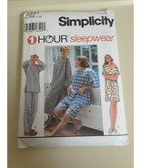 MENS WOMENS CUT SIMPLICITY Sewing Pattern #9391-1 HOUR PAJAMAS GOWN Sz (... - $10.84