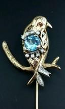 Vintage 14k Large Solid Yellow Gold Diamond Aquamarine Bird Hat Lapel St... - $890.01