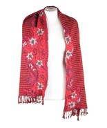 VINTAGE Red Wool SCARF Stole FLORAL EMBROIDERY Houndstooth Pattern w/ FR... - $37.62
