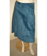 I.E. Dark Storm Blue Curved Seam Sueded Leather Asymmetrical Skirt (12) ... - $29.30