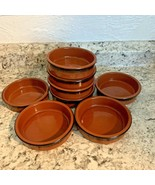 CERMER glazed FLAN DISH RAMEKIN reddish brown clay bowls, SET OF 4 - $29.65