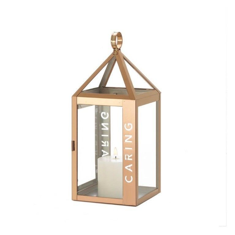 Lot of 4 Rose Gold Stainless Steel Sleek Candle Lantern w/ Caring Etched on Side