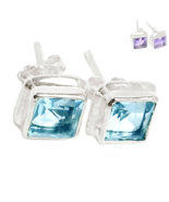 Alexandrite Posts Earrings, 925 Silver, Changes Color, Handmade - $28.00
