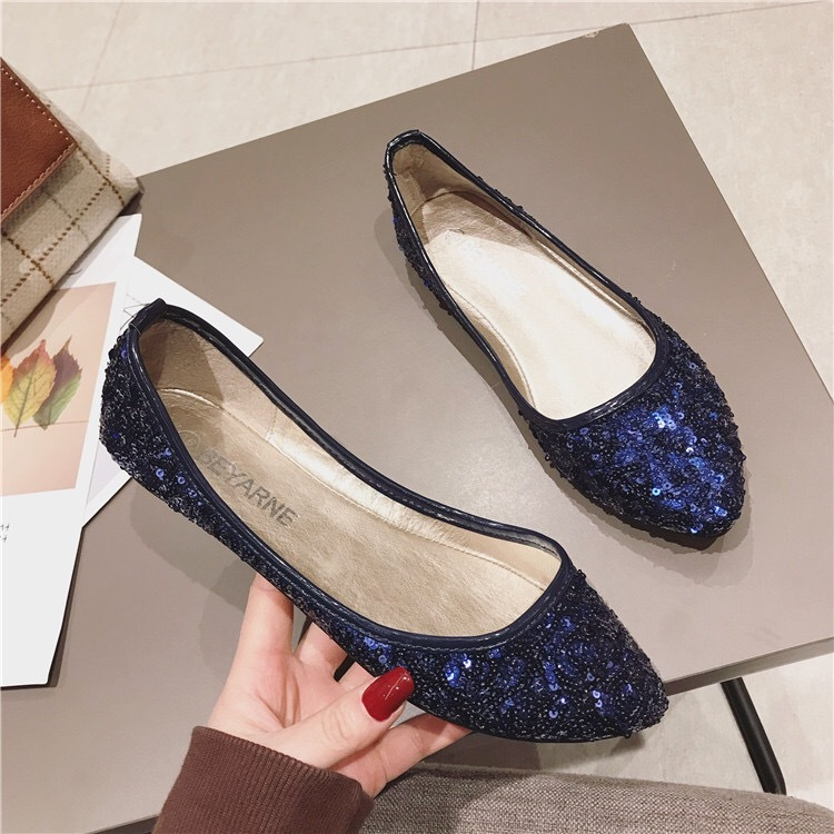 Primary image for Sequin Blue Ballet Flats Slippers Shoes Evening flats Party flats Wedding Flats