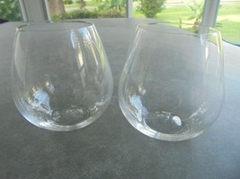 """Set of 2 Riedel Crystal Stemless Wine Glasses 4 3/8"""" Tall - $15.84"""