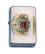 Vintage Cigar Box Poster D20 Flip Top Oil Lighter Wind Resistant With Case - $12.82