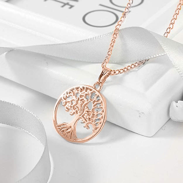 Primary image for 925 Sterling Silver Rose Gold-Tone CZ Tree of Life Pendant Necklace, 18""