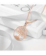 "925 Sterling Silver Rose Gold-Tone CZ Tree of Life Pendant Necklace, 18"" - $9.79"