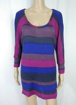 Anthropologie Splendid Purple Gray Blue Striped Dolman Jersey Tunic Knit... - $9.50