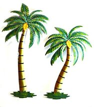 """Beautiful 37"""" Metal Set of 2 Palm Tree with Coconuts Tropical Island Wall Art - $79.19"""