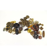 Mixed Lot Vintage Mid Century 80 Round Metal Wood Leather Mostly Shank B... - $37.12