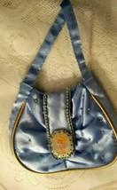 Estate~ Vintage BARBIE Blue Cloth Purse Beads & Picture Logo  - $11.83