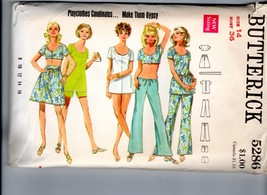 1969 Butterick Gypsy Playclothes Crop Top Mini Dress Skirt Pantsuit Patt... - $18.32