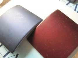 2 Covergirl Goody Blue Maroon Metal Square Hair Barrettes 2002 1 Inch Clasp Scuf - $10.00