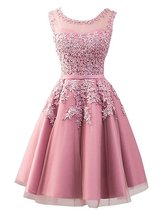 Lace Blush Pink Prom Dress Short 2018 Formal Dress Homecoming Dress Part... - $114.99