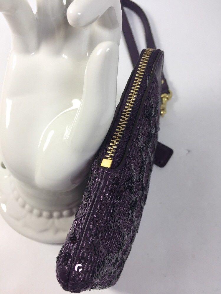 Coach Universal Poppy Signature Purple Sequin Zip Phone Bag Wristlet  68196 W16