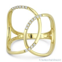 0.14ct Round Cut Diamond Right-Hand Overlap Loop Fashion Ring in 14k Yel... - $725.99