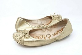 Sam Edelman Womens 8.5 M Beatrix Ballet Flats Beige Leather Cap Toe Embellished - $26.99