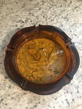 "ASHTRAY Vintage American Eagle heavy amber 10"" Union shield Tiara Indiana Glass image 2"