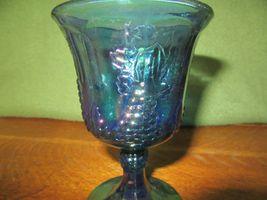 Vintage Iridescent Blue Carnival Glass Goblet Candle Holder-Grape image 3