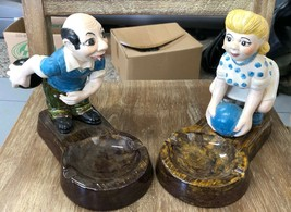 Vintage Ceramic Holland Mold Man Woman Bowler Bowling Figures Cigarette ... - $29.02