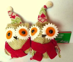Merry Owl ornament plush craft style  Lot of 2 - $5.59