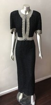 Heavily Beaded Pearl Vintage 90s Graduated Trophy Silk Black Party Long ... - $34.30