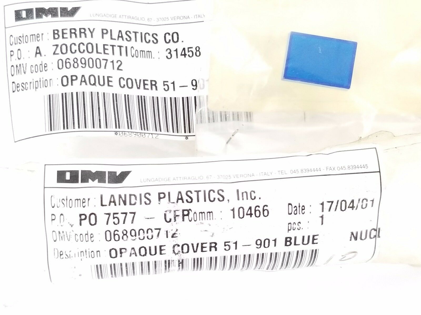 LOT OF 3 NEW OMV 068900712 OPAQUE COVER 51-901 BLUE