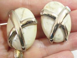 X CROSS Silver Plate AGATE STONE Oval Big Clip on Earrings Vintage Estat... - $14.84