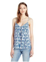NEW NWT Joie Women's Nahlah B Ikat Printed Top, High Seas/Porcelain, Large - $71.52