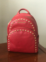 NWT Michael Kors ABBEY Medium Leather Backpack RED $398 NEW - $168.29