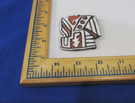 Hand Crafted Brooch Pin Red Clay Pottery Abstract Signed Jamaica Black W... - $13.16