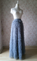 GRAY Tiered Tulle Skirt Women High Waist Tier Tutu Skirt Outfit Party Prom Skirt image 2