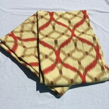 "2 Yellow w Brown Orange Geometric Lined Curtain Panels Waverly 52"" x 82"" - $33.85"