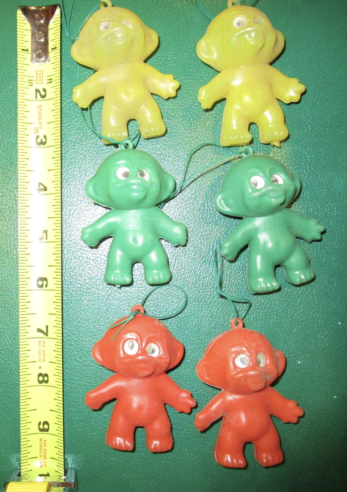 "6 VTG PLASTIC 3"" TROLL DOLLS HONG KONG VENDING MACHINE TOY ORNAMENT FLICKER EYES"