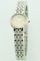 SEIKO LADIES STEEL SILVER WHITE EASY READ SIMPLE CASUAL BRACELET QUARTZ ... - $70.90