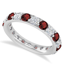 2.50 Ct Round Cut Real Diamond & Garnet 14K Gold Full Eternity Wedding B... - €716,88 EUR