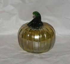 """Golden Iridescent  Mercury Glass Pumpkin w Green Stalk 3 3/4"""" - $39.60"""