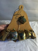 VINTAGE Wooden BELL Hanger PLAQUE with 7 Mini SWISS COWBELLS with PAINTINGS - $24.74