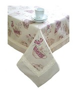"Provence Cotton Tablecloth with Cotton Lace in French Country Style, 55""... - $49.62"
