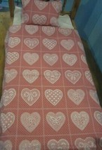 """QUILT 18"""" doll pillow/comforter blanket for american girl other mauve lace heart - $19.80"""
