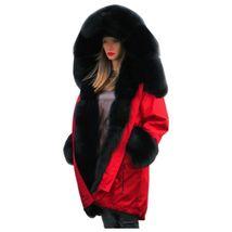 Women Winter Warm Thick Fur Long Sleeve Hoodie Over Coat image 3