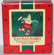 1986 Hallmark Christmas Ornament Rah Rah Rabbit handcrafted smal cheerle... - $13.86