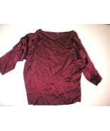 New NWT Womens Josie Natori L $195 Silk Blouse Top Designer Burgundy Red... - $195.00