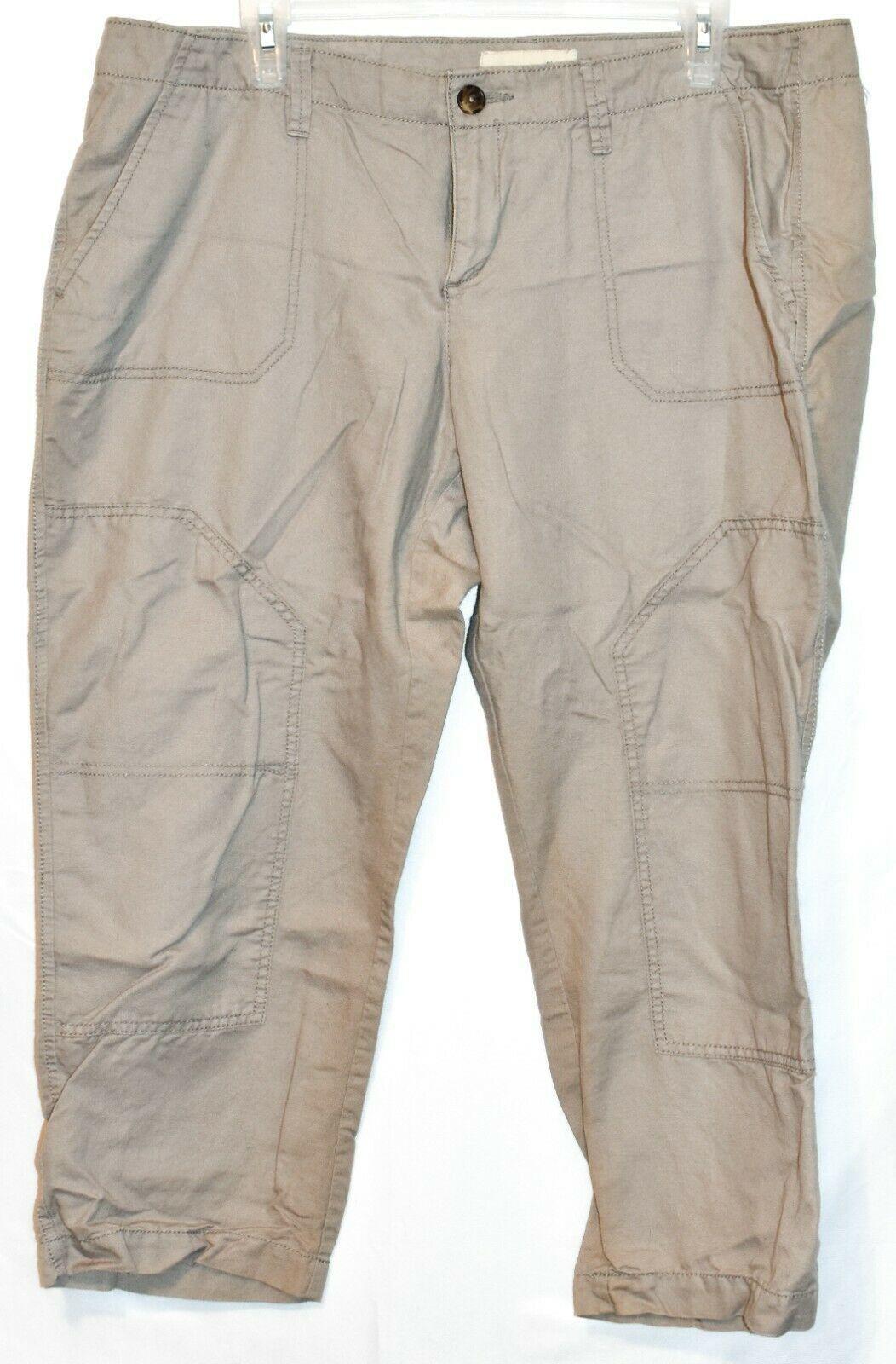 Old Navy Women's Tan Brown Linen Cotton Faux Cargo Carpi Cropped Pants Size 14