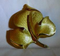 1955+ Crown Trifari Copyright Brushed Goldtone Maple Leaf Pin - $25.00