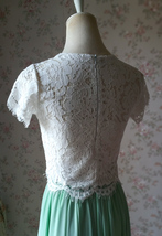 Short Sleeve White Lace Crop Top Round Neck Lace Bridesmaid Lace Top image 6